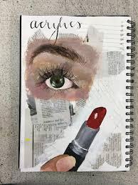 gcse art sketchbook art page on acrylics livvy coombs