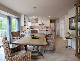 wood bead chandelier dining room transitional with bay window contemporary kitchen