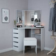 dels about corner dressing table set in white makeup desk dresser with mirror drawers stool
