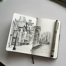 art drawing pen sketch ilration linedrawing moleskine micron architecture street
