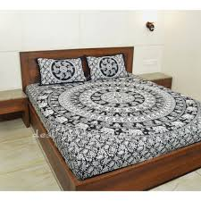 black and white elephant mandala boho hippie bedding bedspread with pillow covers