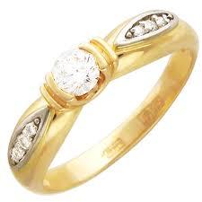 <b>Кольцо с 7 фианитами</b> из жёлтого золота