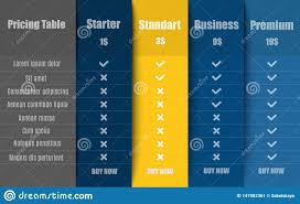 Website Hosting Comparison Chart Hosting Table For Four Products Or Services With Different
