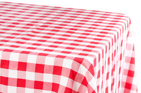 checd rectangular polyester tablecloth 60 x102 red white
