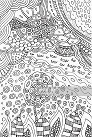 Kleurplaat Met Doodle Bloem En Landschap Planten En Hemel Vector