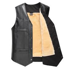mens fleece liner winter warm black faux leather vest business casual sleeveless waistcoat cod