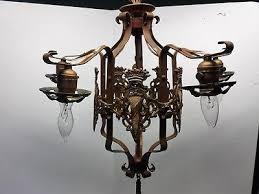 antique vintage art deco nouveau spanish revival polychrome 5 light chandelier