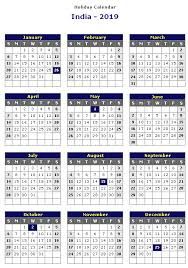 India 2019 Printable Holiday Calendar For With Indian Holidays ...
