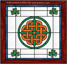 celtic stained glass window decorative window