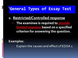 essay test general types of essay test examples  explain the issue about climate change  discuss classroom assessment 5