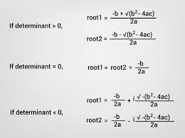calculation of roots of a quadratic equation