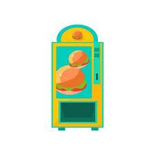 Vending Machine Cartoon Amazing Burger Vending Machine Design In Primitive Bright Cartoon Flat