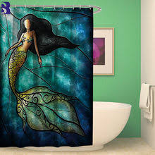 artistic shower curtains. SunnyRain 1-Piece Artistic Colorized Mermaid Shower Curtain Bathroom Water Resistant Curtains L