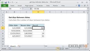 Excel Formula Get Days Between Dates Exceljet