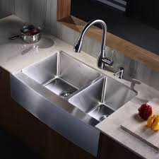 kraus khf203 33 kpf2130 sd20 33 inch farmhouse double bowl stainless steel kitchen sink with kitchen faucet and soap dispenser expressdecor com