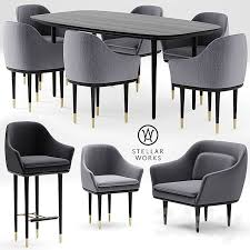 table works 3d models table chair table and chairs stellar works lunar