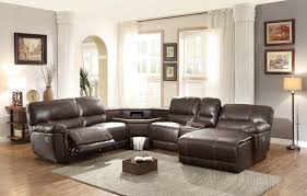 8brown recliner sectional with table console in center