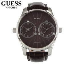 new original guess deuce dual 2 time zone brown leather strap men new guess deuce dual 2 time zone mens brown strap watch