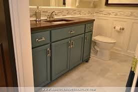 bathroom cabinet remodel. Bathroom Remodel - Vanity Made From Stock Oak Cabinets, DIY Wood Butcherblock-style Countertop Cabinet Y