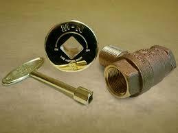 Brass ShutOff Key For Gas Log ValvesFireplace Key