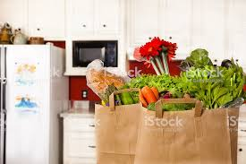 Kitchen counter with food Foodal Food Bags Of Groceries On The Kitchen Counter Royaltyfree Stock Photo Granderie Home Hardware Food Bags Of Groceries On The Kitchen Counter Stock Photo More