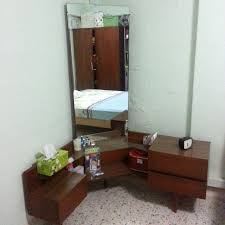 ... Vintage Teak Dressing Table With Full Length Mirror Antique in corner  vanity table with mirror ...