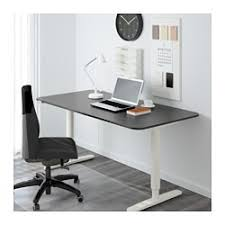 BEKANT Desk sit/stand, black-brown, white $529.00