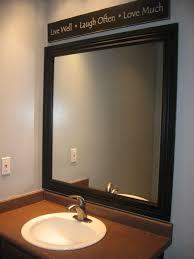 bathroom mirror. bathrooms design : appealing dark wood bathroom mirror cabinet image of diy framed reclaimed vanity style cherry white wall large round rustic x sink