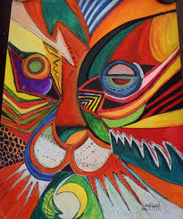 abstract tiger 76 x 100 cm modern african