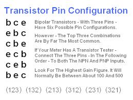 Transistor Configuration Comparison Chart How To Identify A Bipolar Transistors Pin Configuration