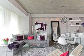 white shag rug living room. Toronto Grey And White Shag Rug With Contemporary Pendant Lights Living Room Leaning Floor Mirror Purple