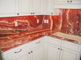red marble countertops and flooring
