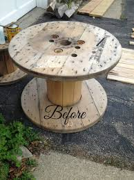 Before: your standard planked-top cable spool: