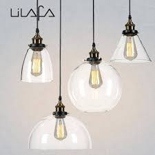 new vintage clear glass pendant light copper hanging lamps bulbs for bulb socket cord
