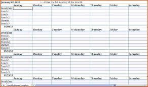 Weekly Meal Planner Excel Excel Meal Plan Template Weekly Meal