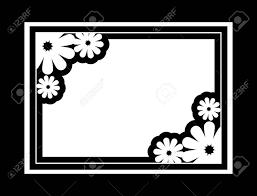 黒と白のシルエット フレーム装飾花ベクター クリップ アート