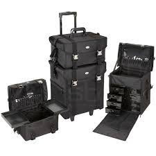 2 in 1 black fabric rolling makeup case set with drawers only 189 95 plus seya professional soft sided