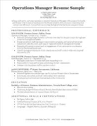 Free Operations Manager Resume Template Templates At
