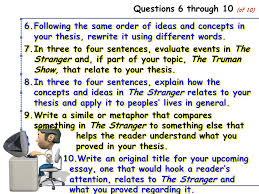 existentialism essay the outline quiz directions please respond  4 questions