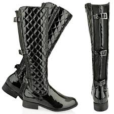 Cheap Quilted Leather Boots, find Quilted Leather Boots deals on ... & Get Quotations · WOMENS LADIES FLAT KNEE HIGH QUILTED CALF BOOTS GUSSET  FAUX LEATHER WINTER SIZE Adamdwight.com