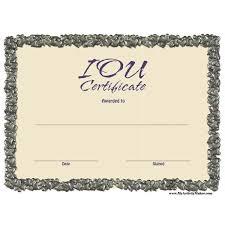 Free Printable Iou Forms Free Printable Iou Certificates