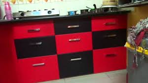 modular kitchen colors: red and black colour modular kitchen baroda ritesh boghani  youtube