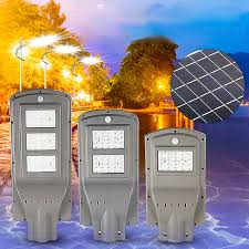 <b>20W 40W 60W LED</b> Solar Powered Outdoor Street Light PIR Motion ...