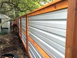 corrugated metal fence horizontal wood and