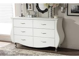 baxton studio enzo modern and contemporary white faux leather 6 drawer dresser