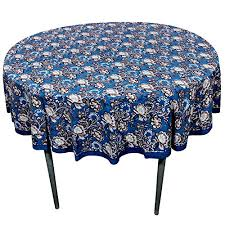 royaltyroute blue base fl round tablecloth in cotton fabric indian home decoration 70 inches
