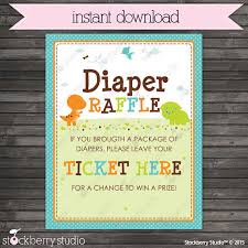 raffle sign dinosaur baby shower diaper raffle ticket sign instant download