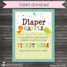 raffle sign dinosaur baby shower diaper raffle ticket sign instant download