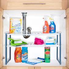 Kitchen Sink Shelf Organizer Stalwart Adjustable Under Sink Shelf Organizer Unit Walmartcom