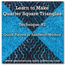 Quarter Square Triangles Technique 2 Quick Pieced
